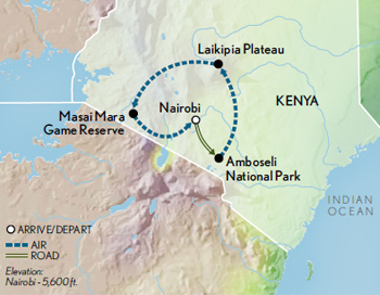 Itinerary map of Kenya Safari in Style