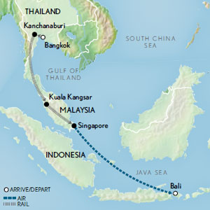Legends of the East by Rail: Bangkok to Singapore & Bali Map