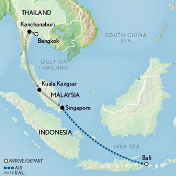 Legends of the East by Rail Bangkok to Singapore & Bali- Map 2019