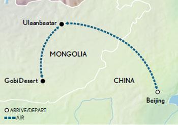 Itinerary map of Mongolia: Naadam Festival & the Khan Legacy