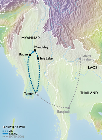 Myanmar & the Irrawaddy Map