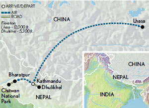 Itinerary map of Nepal & Tibet: From the Jungle to the Roof of the World