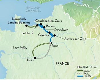 Itinerary map of Paris, the Loire & Seine River Cruise