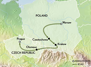 Itinerary map of Poland to Prague