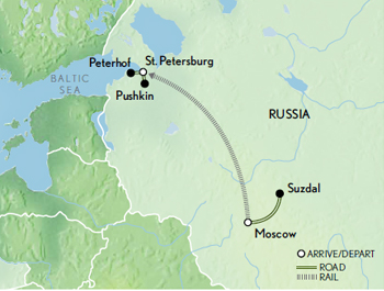 Itinerary map of Russia: Treasures of the Tsars