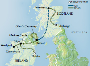 Itinerary map of Scotland & Ireland: Stories & Legends