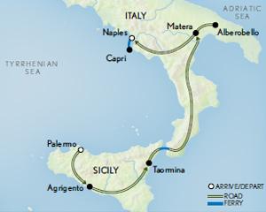 Itinerary map of Sicily, Puglia & the Amalfi Coast