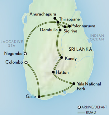 Itinerary map of Tailor Made Sri Lanka: Leopards & Tea Country