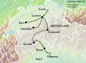 Itinerary map of Switzerland & the Italian Lakes