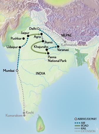 Itinerary map of Taj Mahal & the Treasures of India