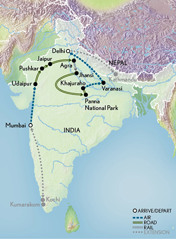 Taj Mahal & the Treasures of India - Pushkar Fair Map