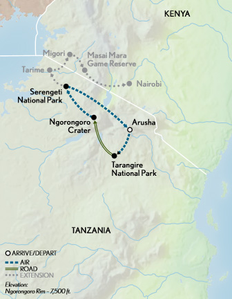 Tanzania Safari in Style Map