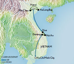 Itinerary map of Vietnam: The Spirit of a Nation Revealed