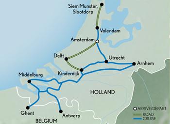 Itinerary map of Cruising Holland & Belgium in Bloom