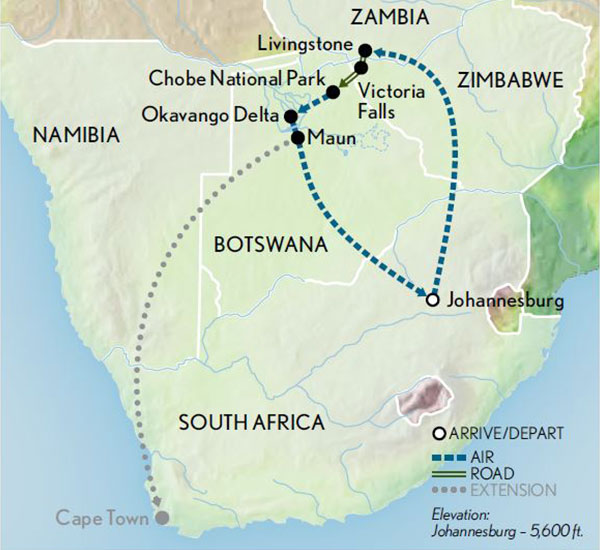 Itinerary map of Botswana Safari in Style