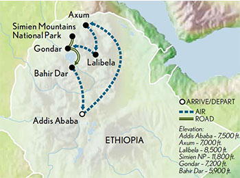 Ethiopia Historic Route and Simien Mountains Map 2019