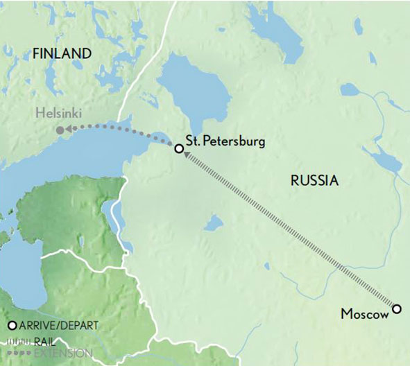 Itinerary map of Imperial Russia