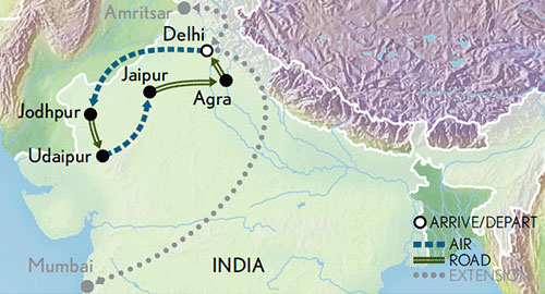 Itinerary map of India & the Riches of Rajasthan
