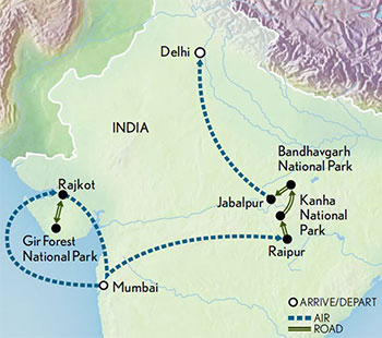 India Wildlife Safari Lions Tigers and Leopards Map 2019