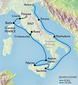 Luxury Expedition Cruising Italy Map