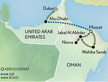 Oman and the Emirates the Sands of Time Map 2019