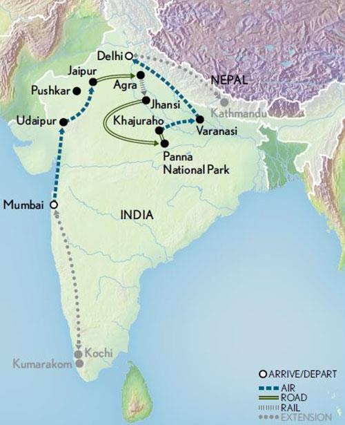 Itinerary map of Taj Mahal & the Treasures of India - Pushkar Fair