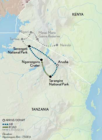 Tanzania-Safari-in-Style-map-updated