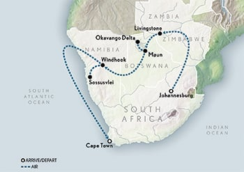 Wings Over Southern Africa Map