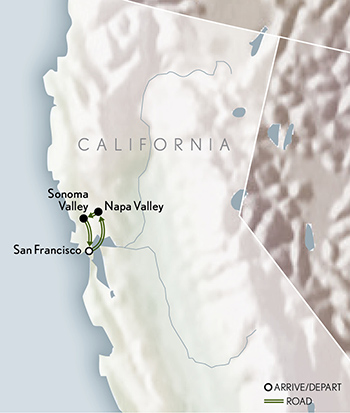 Amerericas California Wine Country map