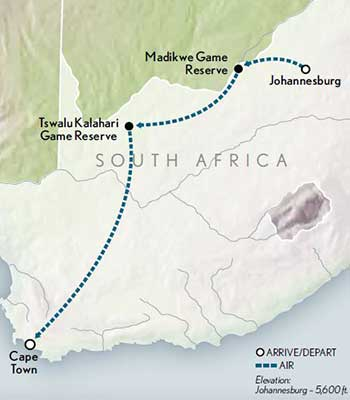 Tailor Made South Africa Family Safari Map 2020