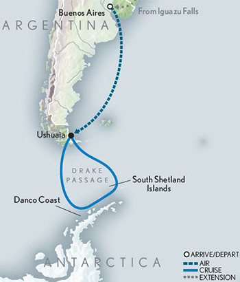 2021 Antarctic Cruise Adventure Map