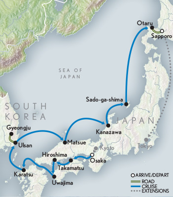 2021 Japan Cherry Blossoms Cruise Map