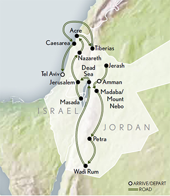 2021 Jordan Israel Ancient Wonders map