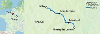 2021 La Belle Epoque Burgundy Canal map