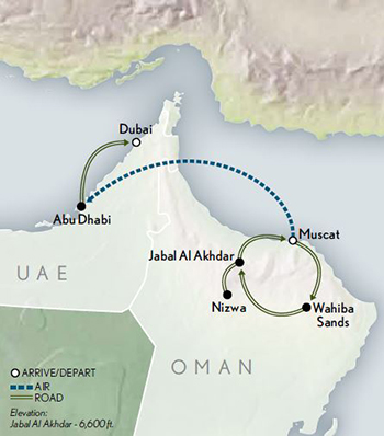 2021 Oman the Emirates map