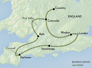 Itinerary map of Britain: Cornwall, Wales & the Cotswolds