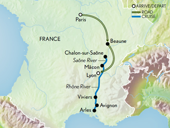 Itinerary map of Food & Wine of France: Paris, Burgundy & Provence