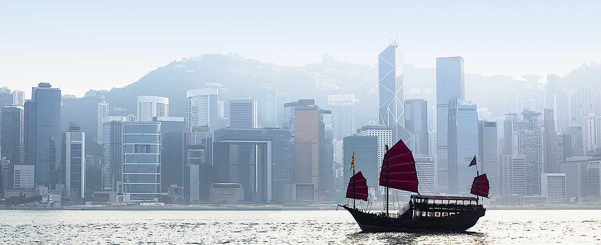 Asia China Hong Kong Sail Boat Skyline