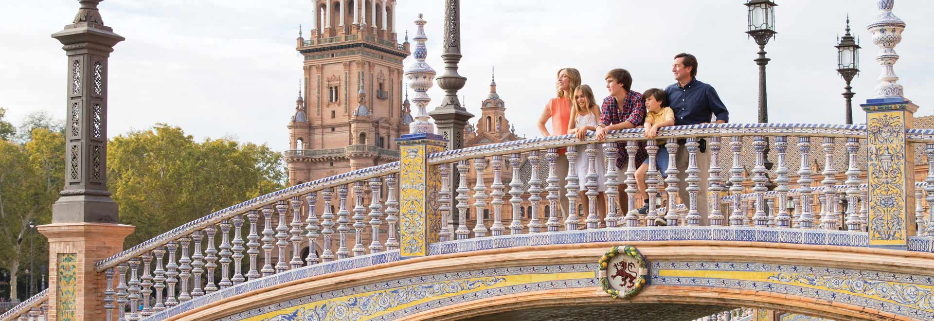 Europe Spain Seville Bridge Family