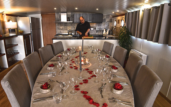 Fine Dining on Board Canal Barge