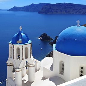 Europe Greece Santorini Ori Blue Domes