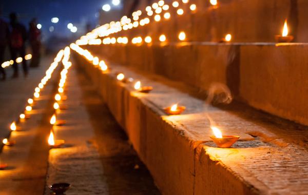 India Varanasi Ghat Candles